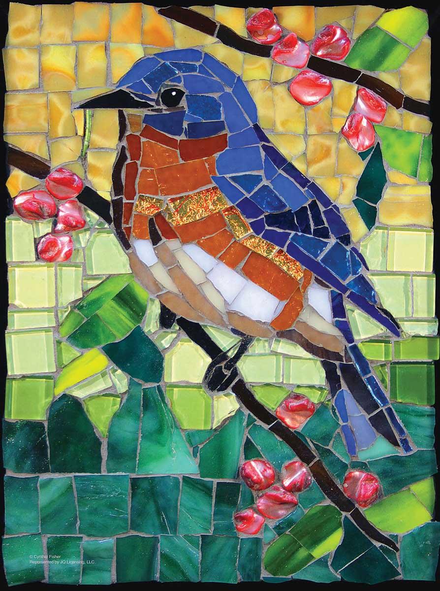 Stained Glass Bluebird Birds Jigsaw Puzzle