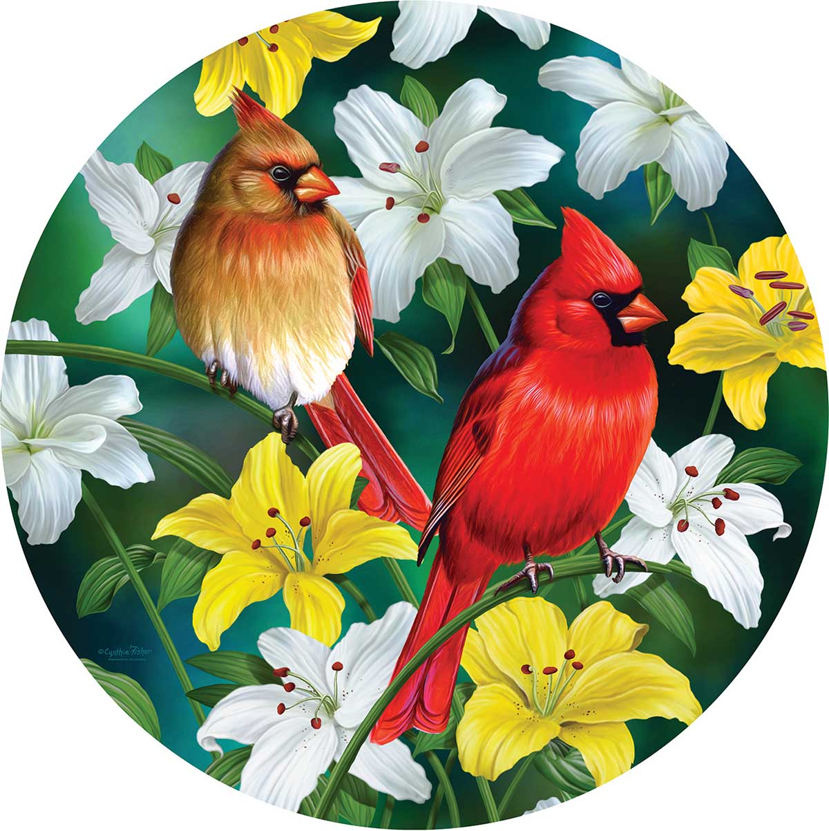 Cardinals in the Round Birds Round Jigsaw Puzzle