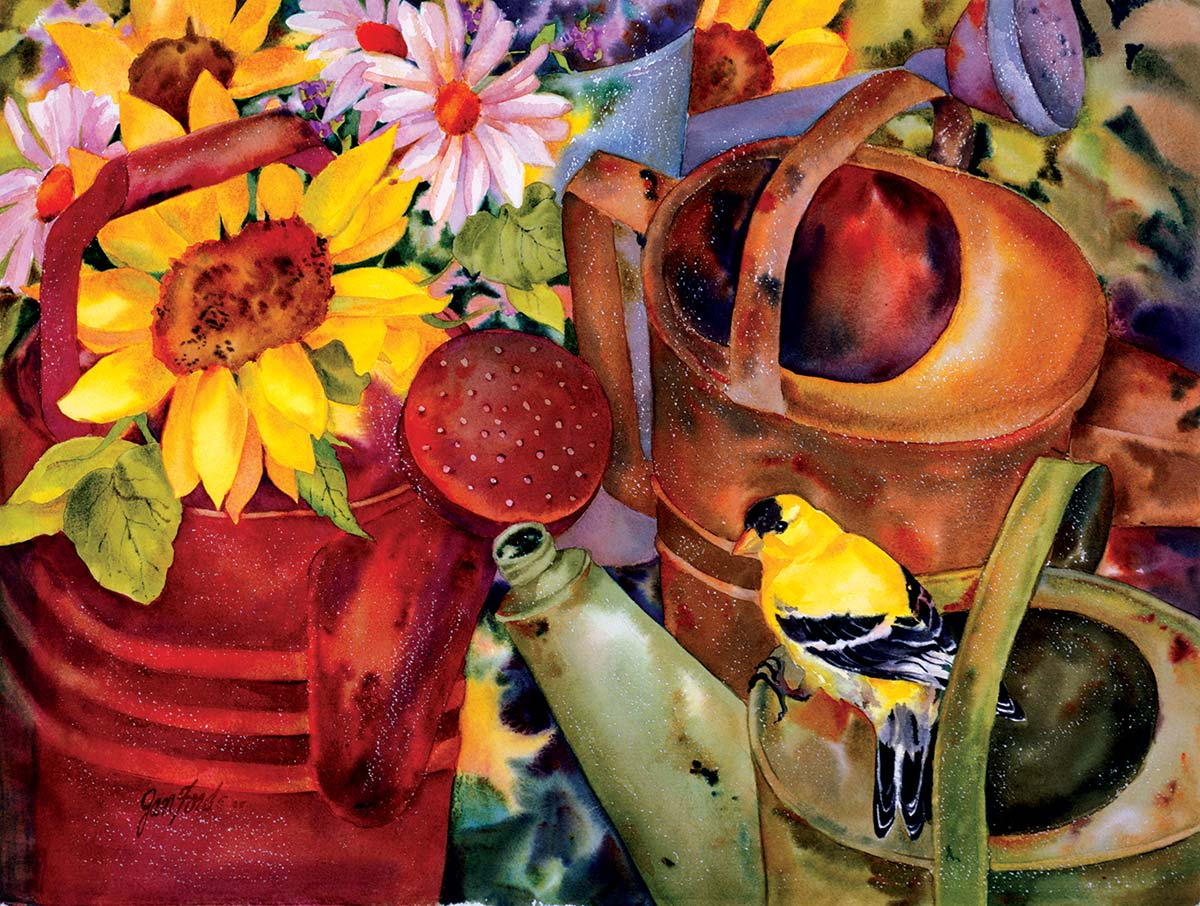 Watering Can Visitor Birds Jigsaw Puzzle