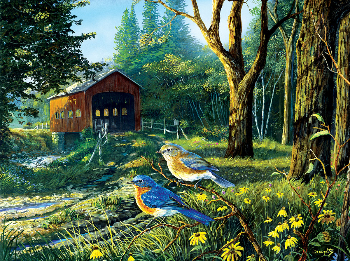 Sleepy Hollow Blue Birds Birds Jigsaw Puzzle