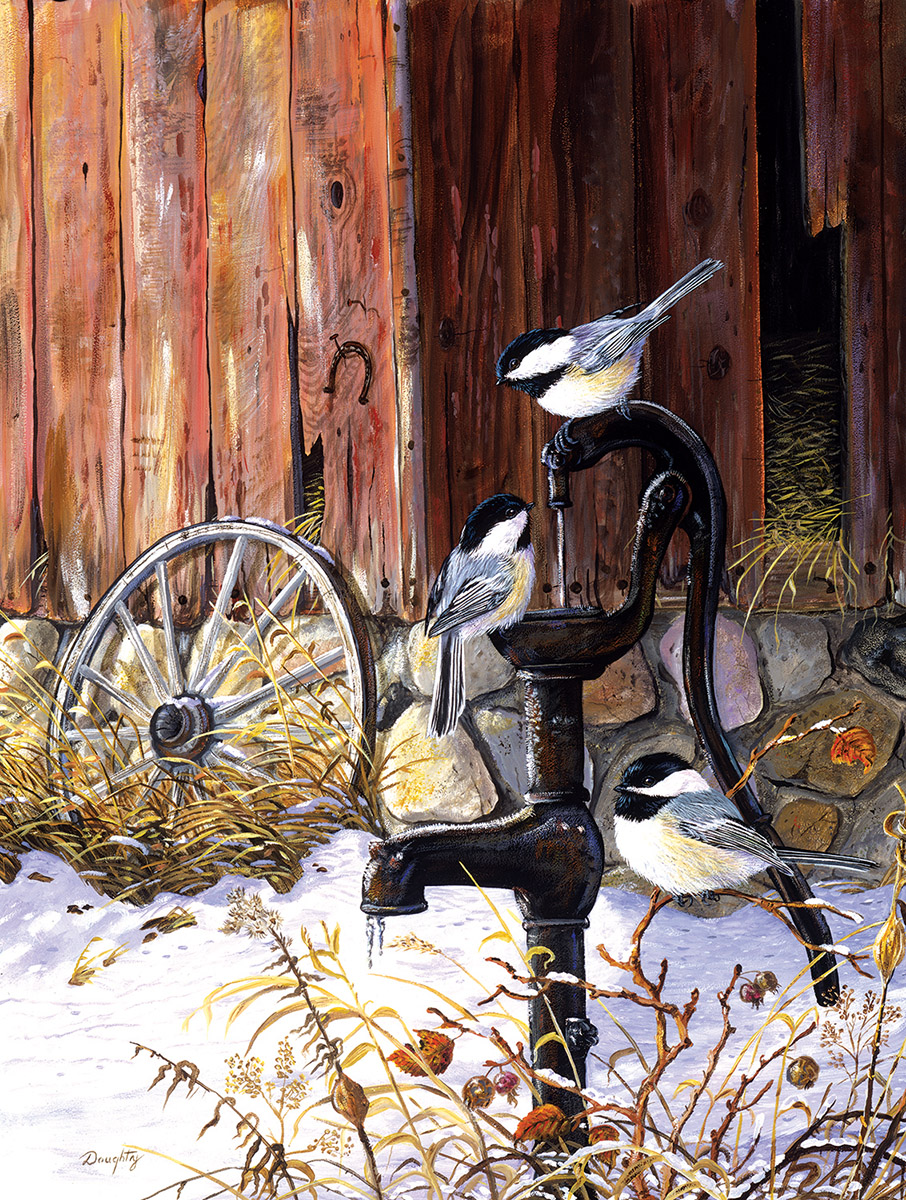 At the Pump Birds Jigsaw Puzzle