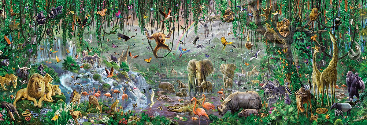 African Mural Jungle Animals Jigsaw Puzzle