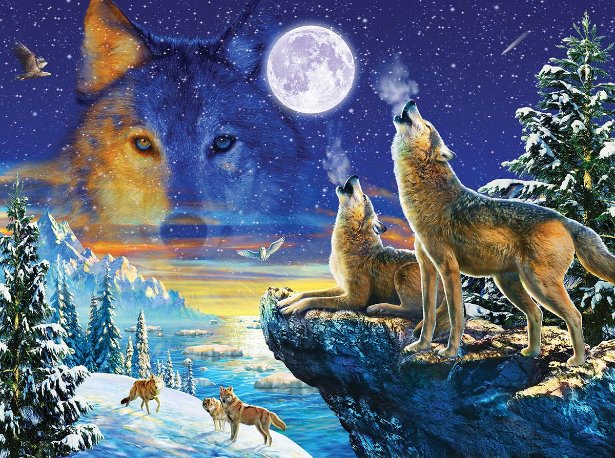 Howling Wolves Wolves Jigsaw Puzzle