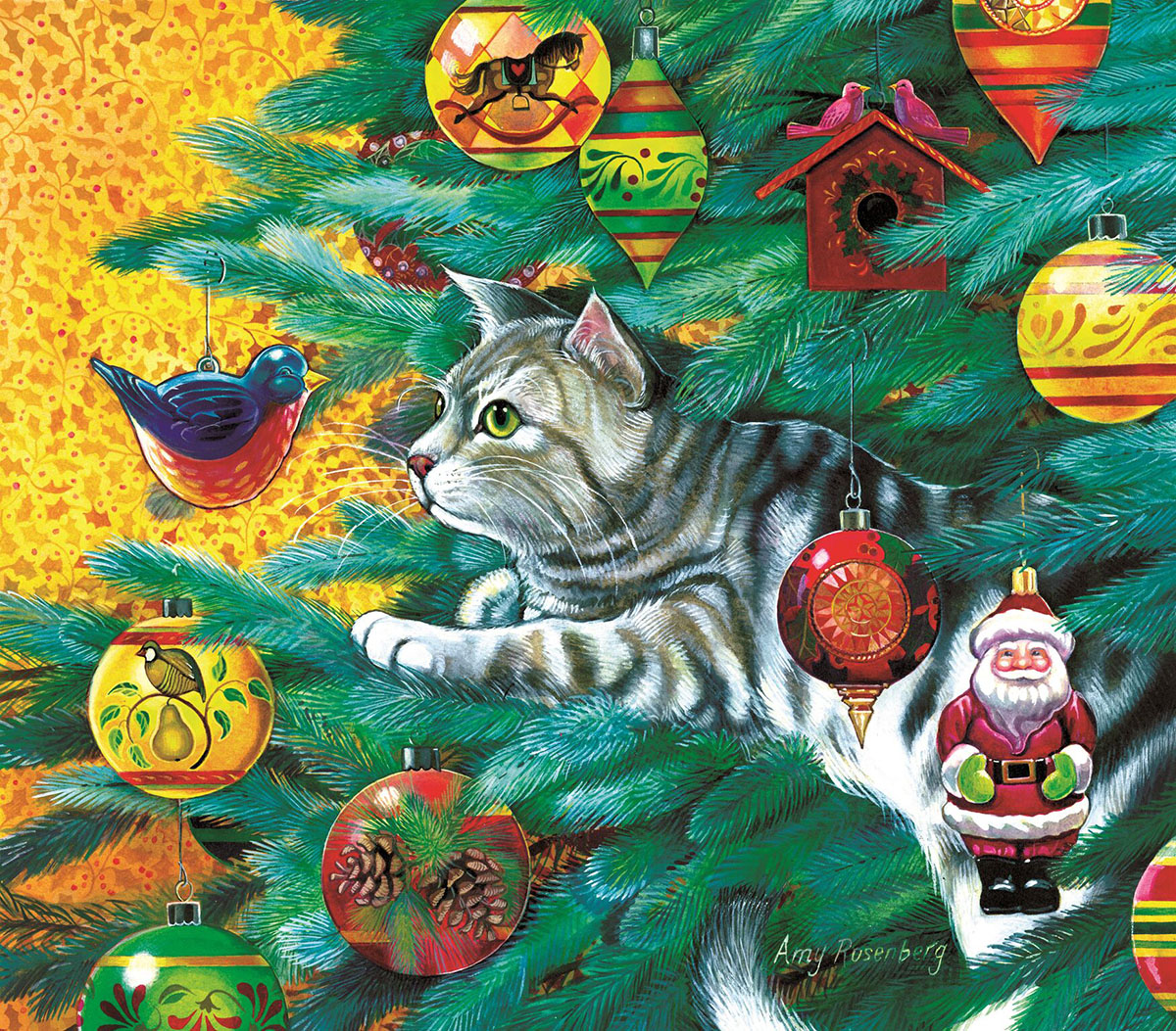 Christmas Tree Cat Cats Jigsaw Puzzle