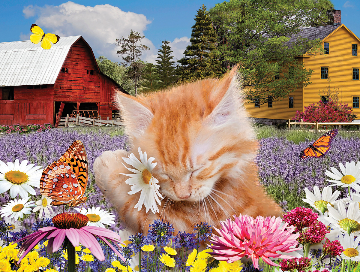 I Wuv Flowers Cats Jigsaw Puzzle