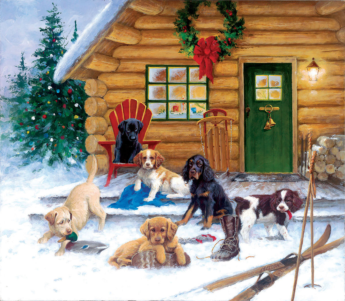 Christmas at the Cabin Dogs Jigsaw Puzzle