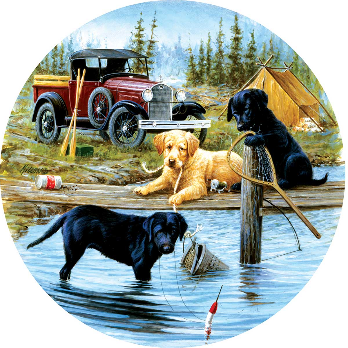 Camping Trip Dogs Round Jigsaw Puzzle