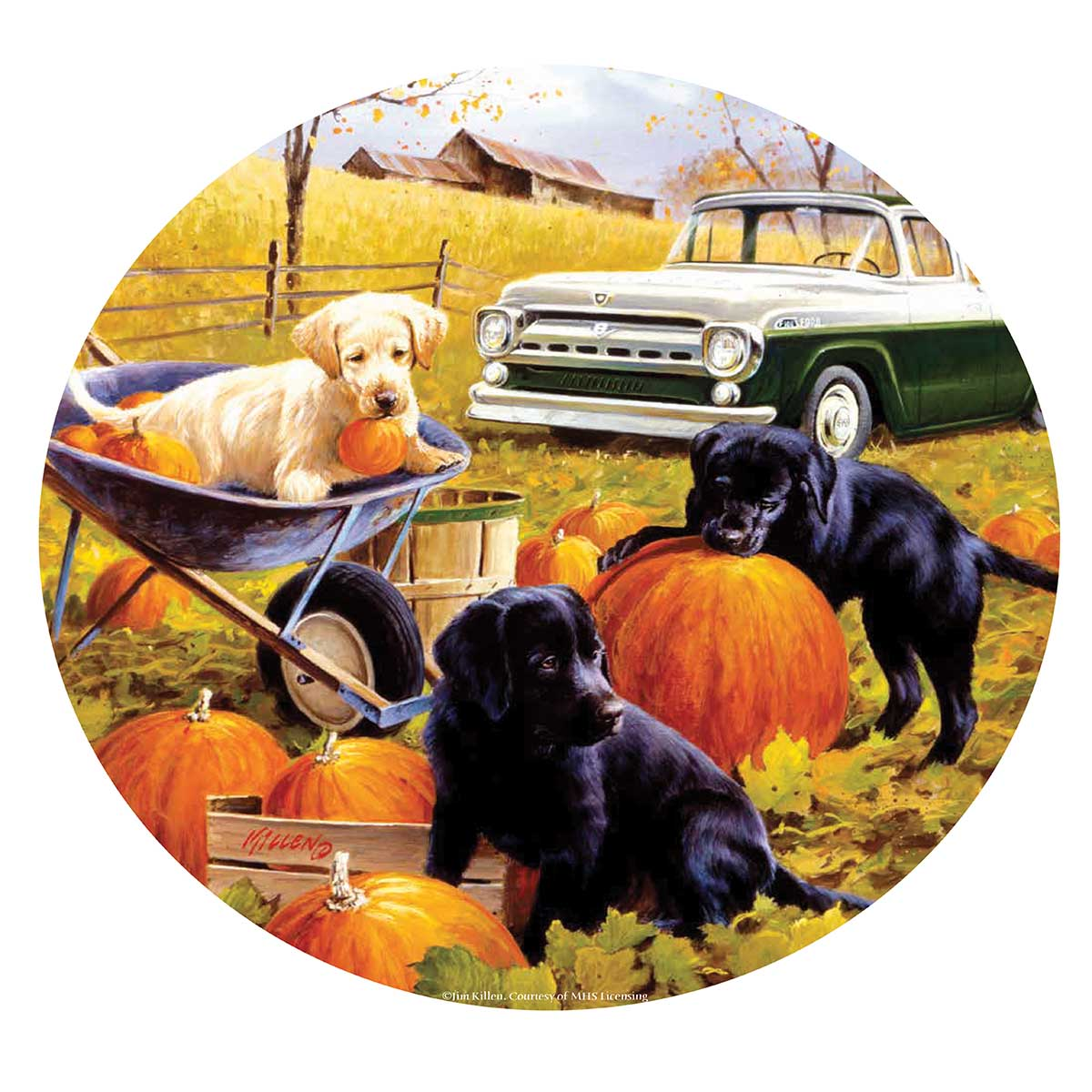 Pumpkin Patch Dogs Round Jigsaw Puzzle
