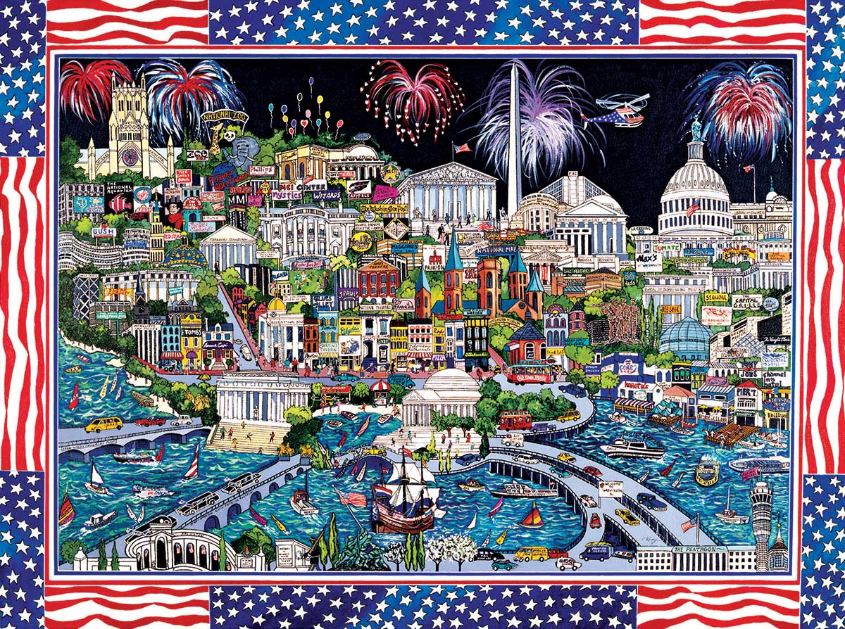 Fireworks over Washington DC Fourth of July Jigsaw Puzzle