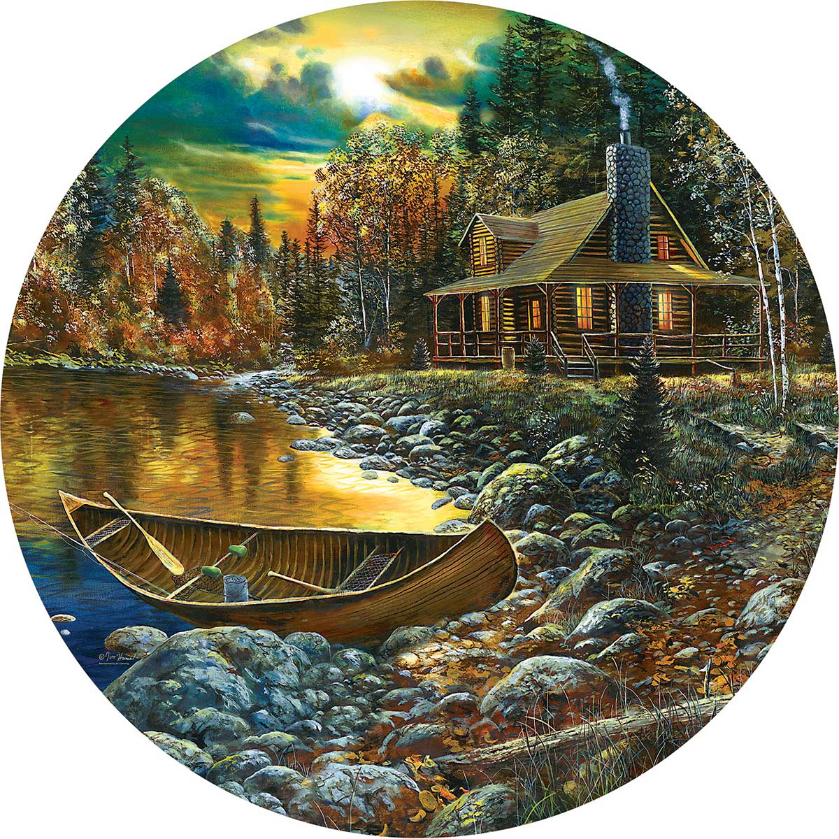 Fall Cabin Fall Round Jigsaw Puzzle