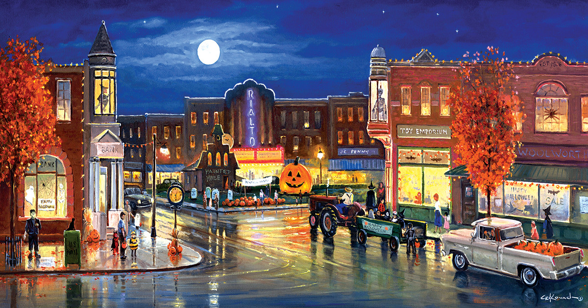Halloween in the City - Scratch and Dent Halloween Jigsaw Puzzle