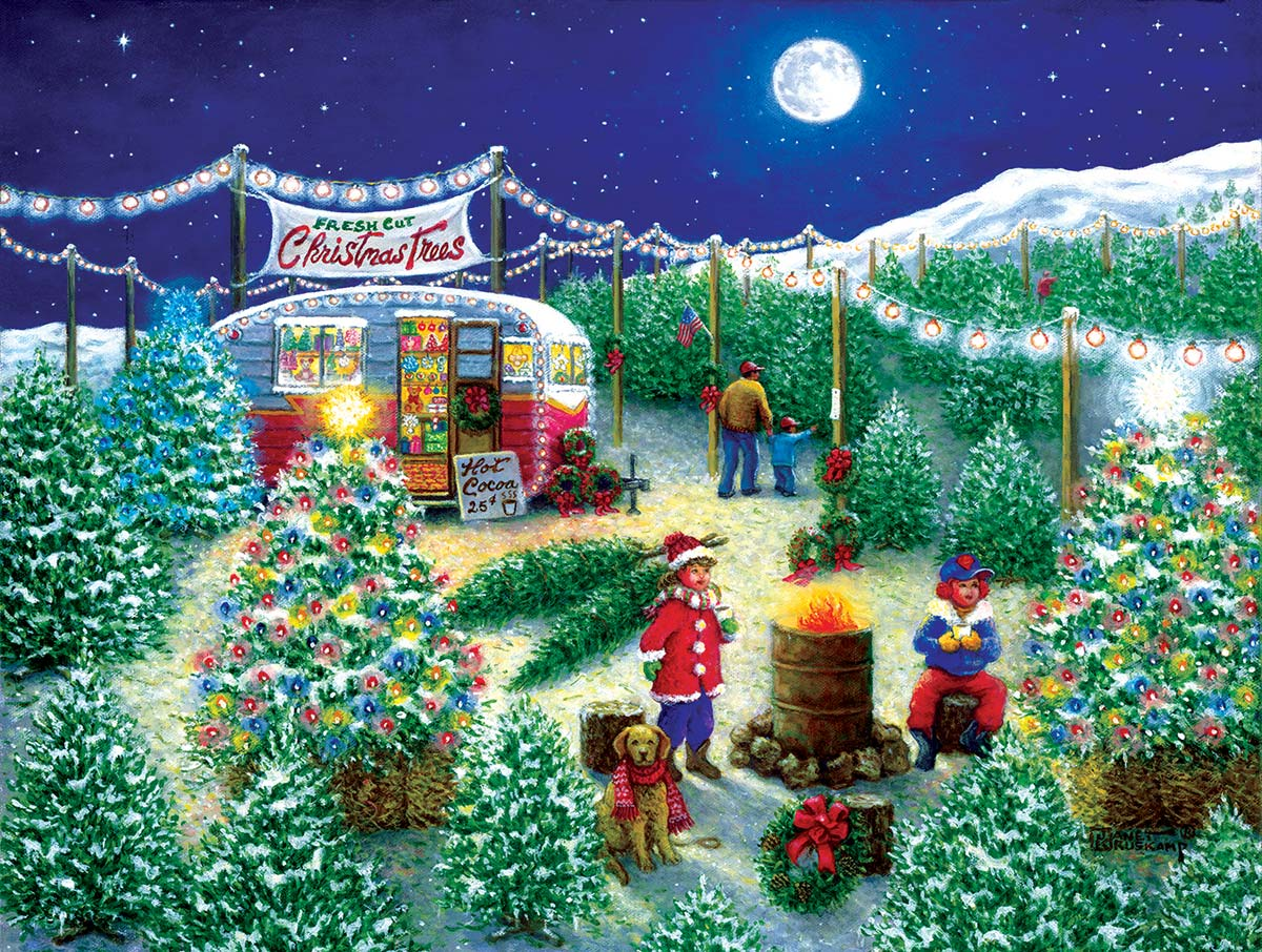 A Lot of Christmas Trees Christmas Jigsaw Puzzle