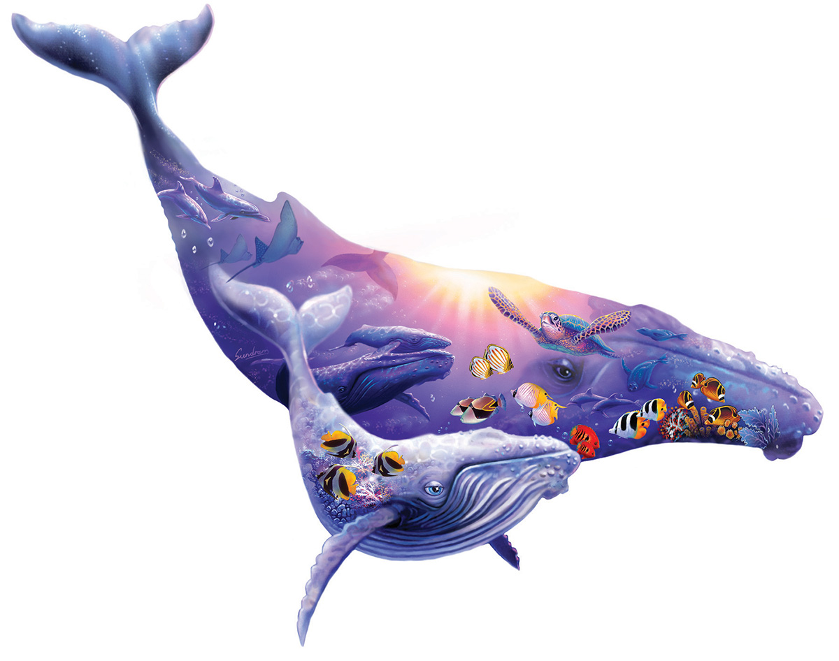 Humpback Whale Under The Sea Shaped Puzzle