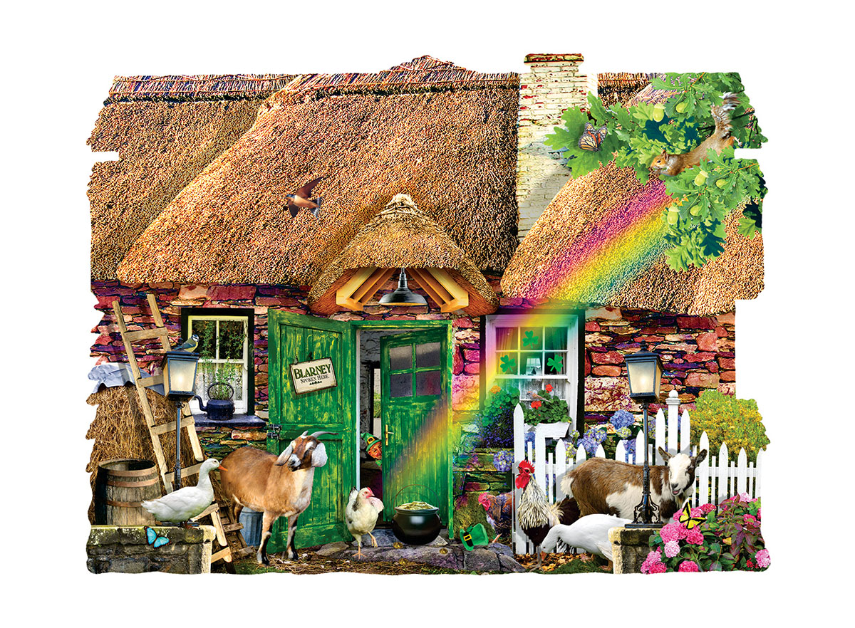 Irish Cottage Collage Shaped Puzzle