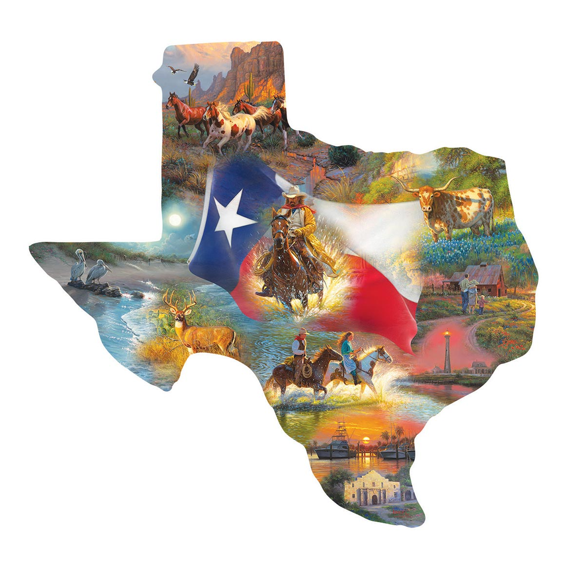 Images of Texas Collage Shaped Puzzle