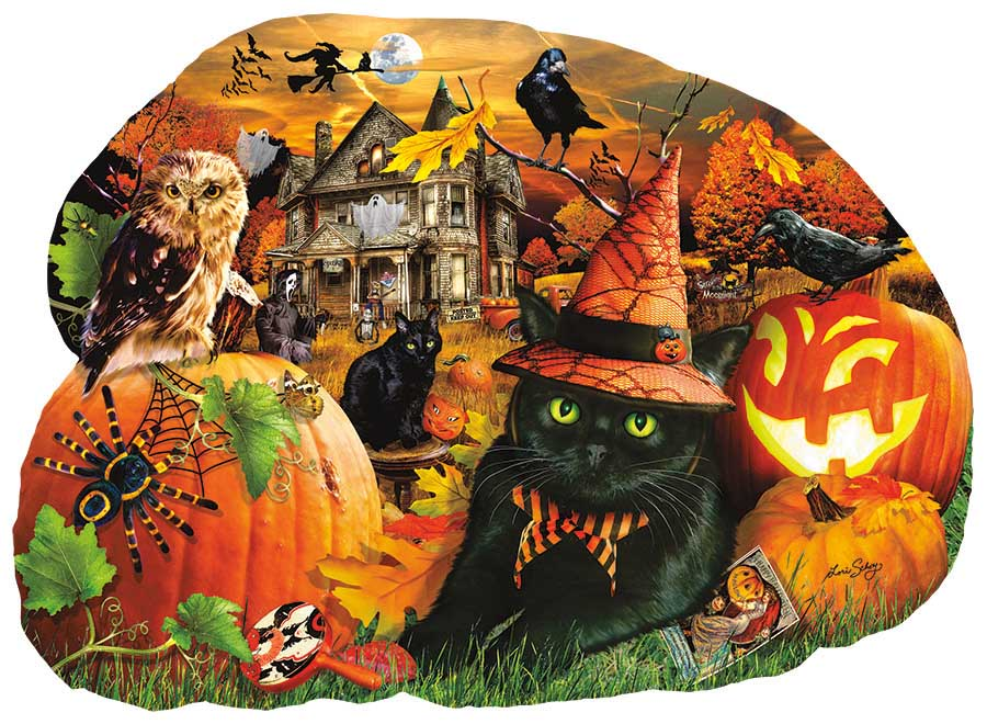 Strolling in the Moonlight Cats Shaped Puzzle