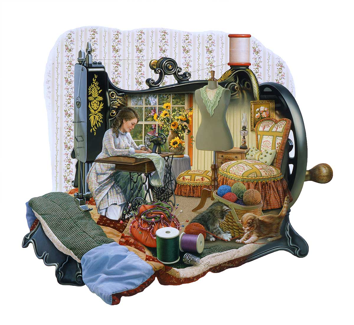 Sewing Memories Domestic Scene Shaped Puzzle