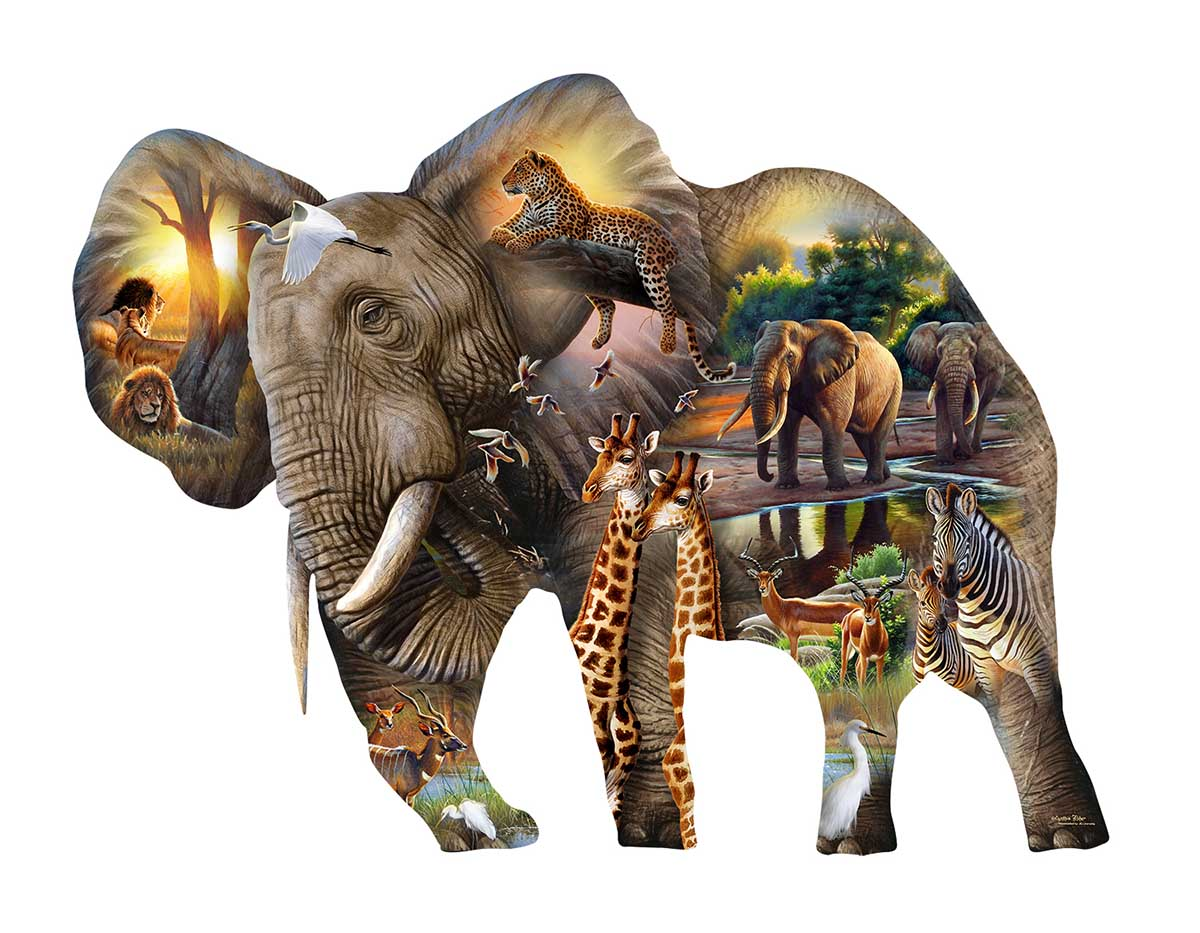 Elephant Habitat Elephants Shaped Puzzle