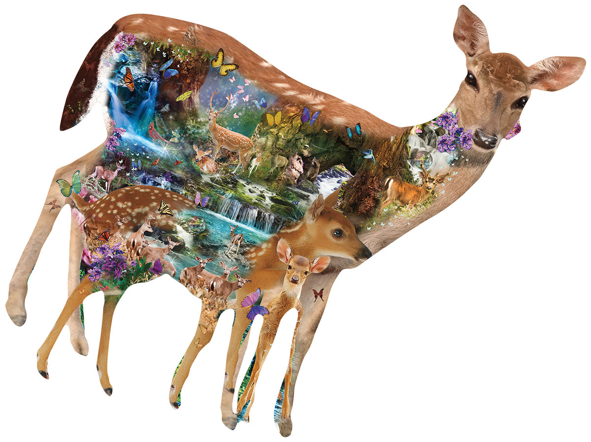 Mystical Forest Wildlife Shaped Puzzle