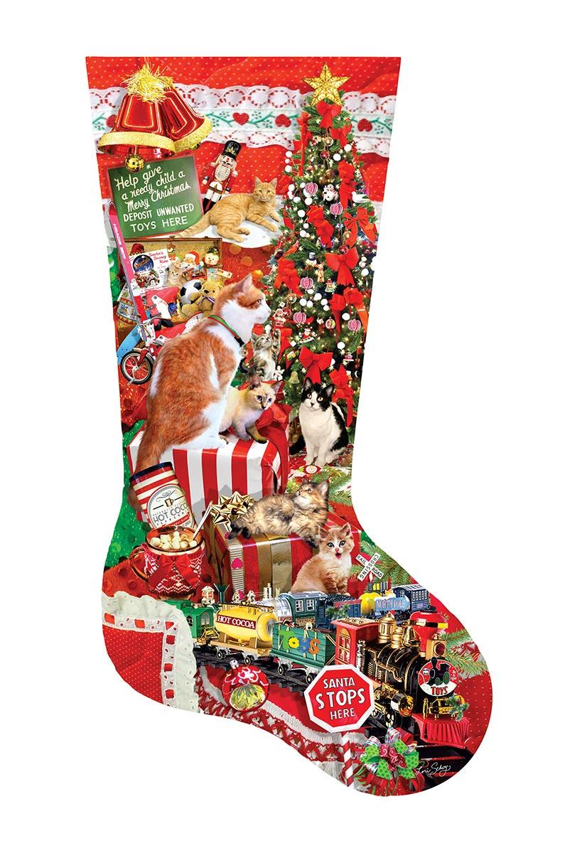 Kitty Stocking Christmas Shaped Puzzle