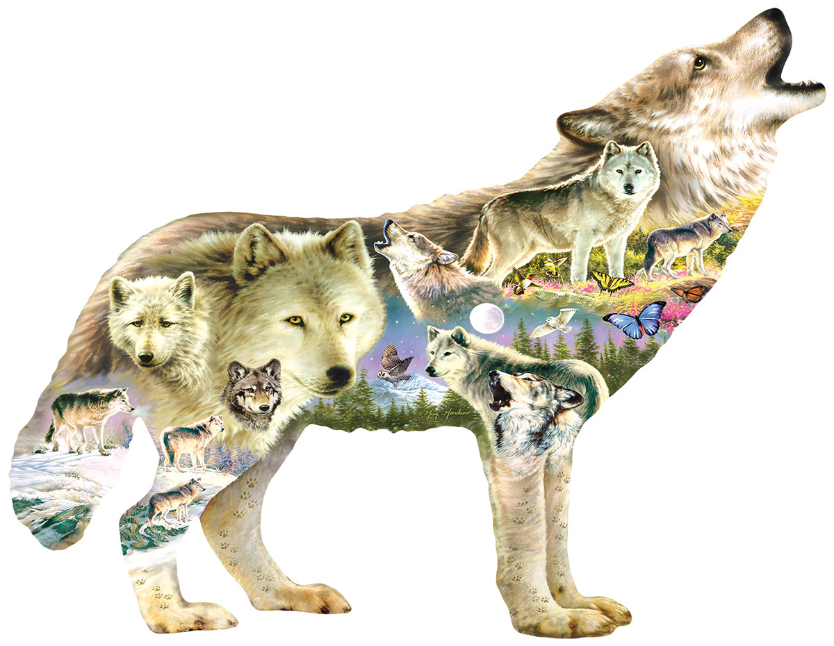 Meadow Wolf Wolves Shaped Puzzle