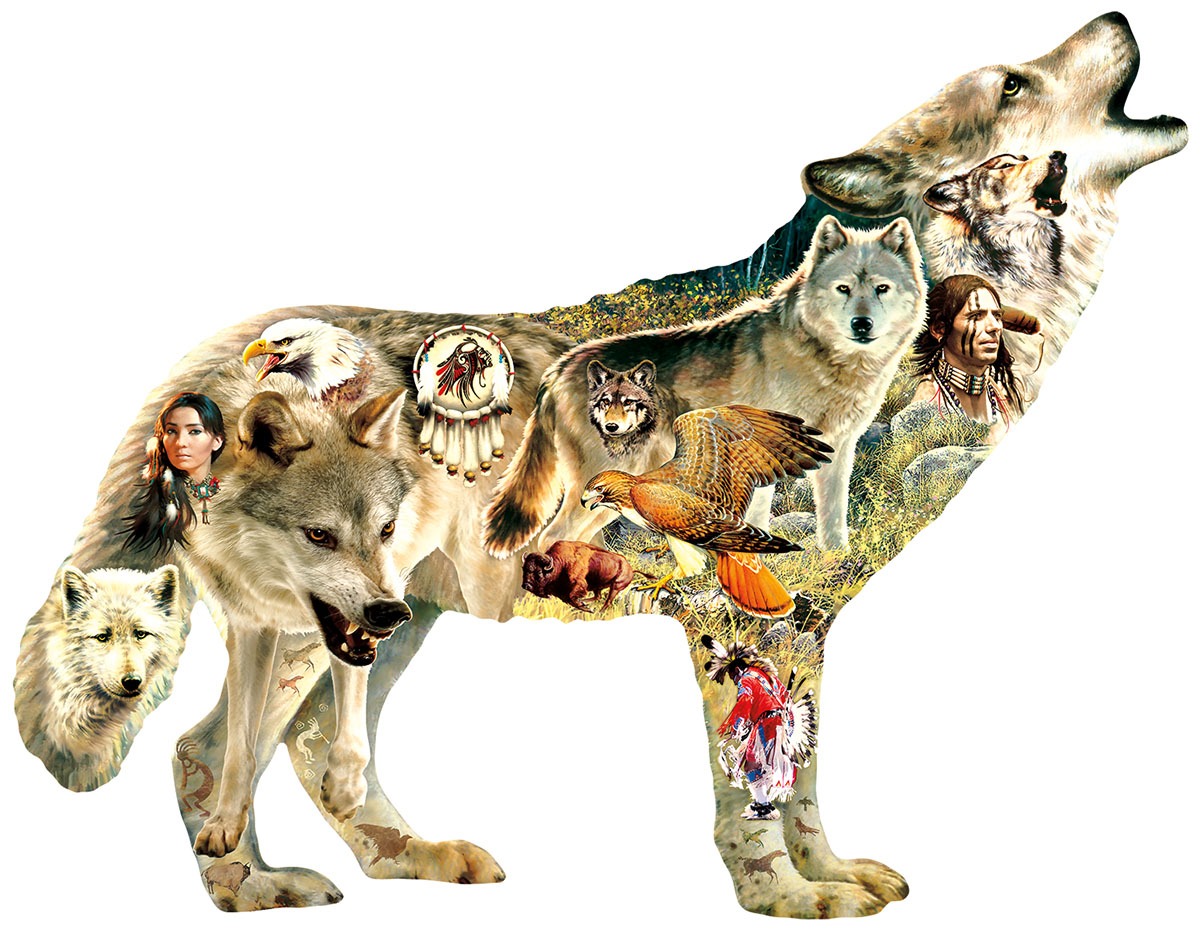 Native American Wolf Wolves Shaped Puzzle