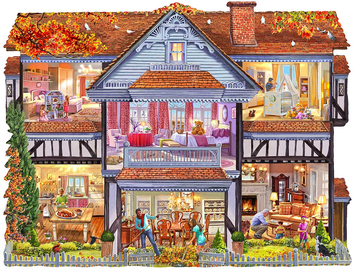 Autumn Country House Fall Shaped Puzzle
