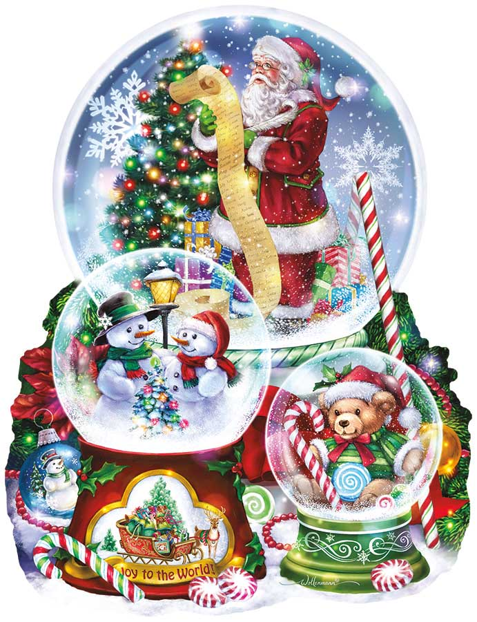 3  Snow Globes Santa Shaped Puzzle