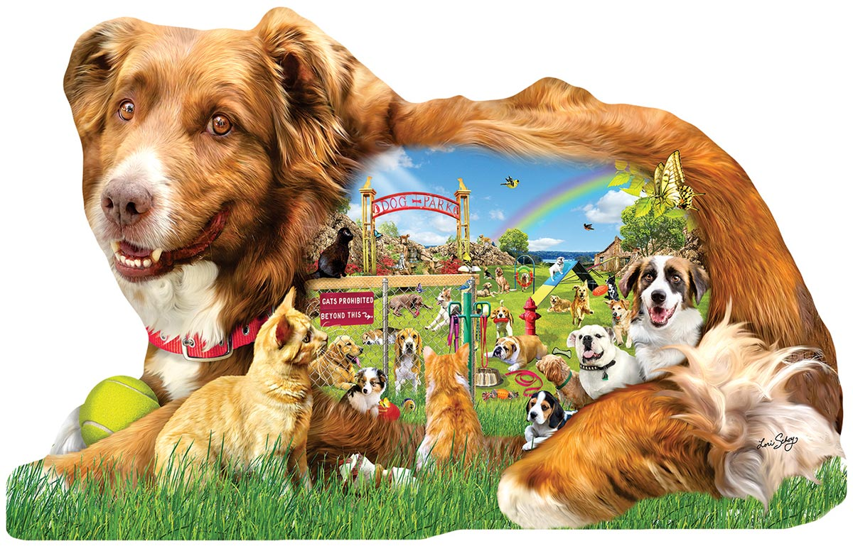 Dog Park Dogs Shaped Puzzle