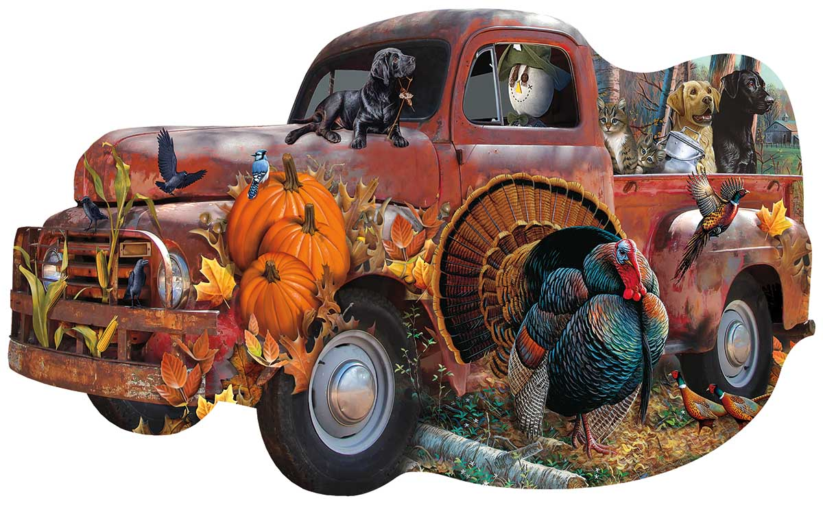 Harvest Truck Fall Shaped Puzzle