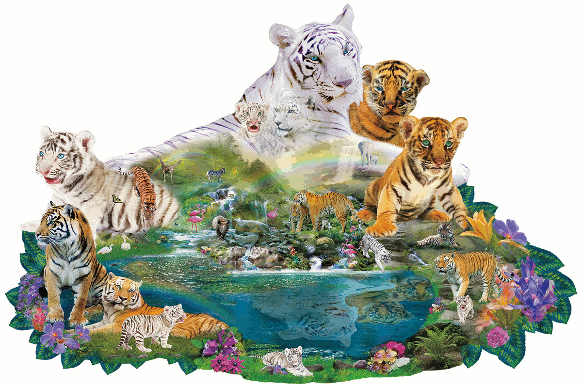 Tigers at the Pool - Scratch and Dent Tigers Shaped Puzzle
