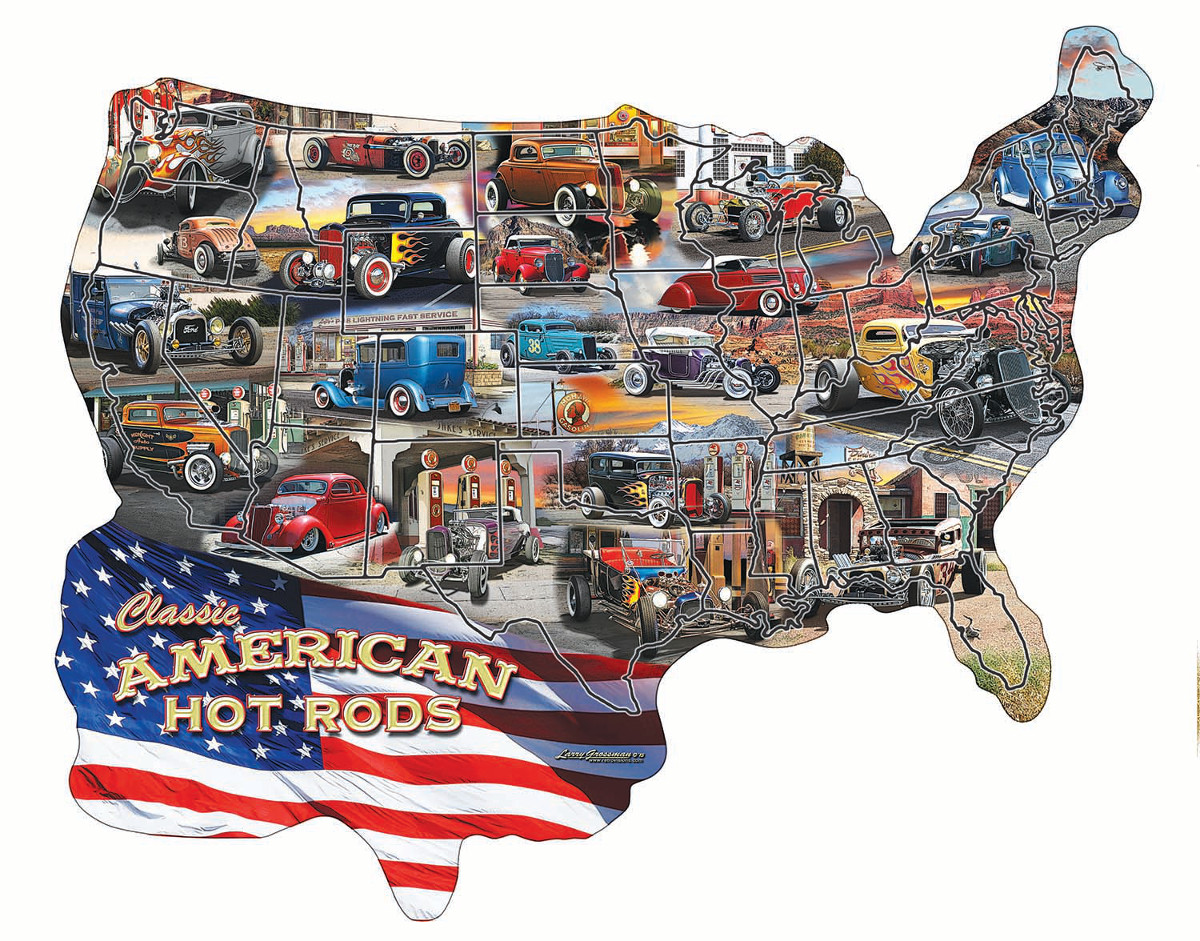 Hot Rod USA! - Scratch and Dent Cars Shaped Puzzle