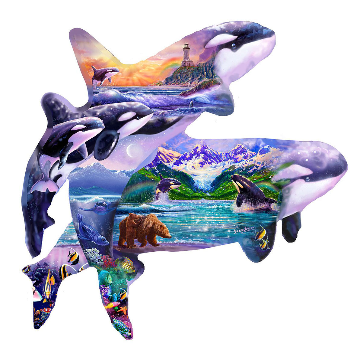 Orca Habitat Animals Shaped Puzzle