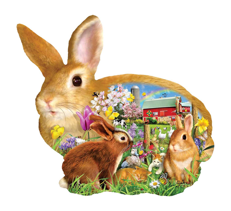 Springtime Bunnies Animals Shaped Puzzle