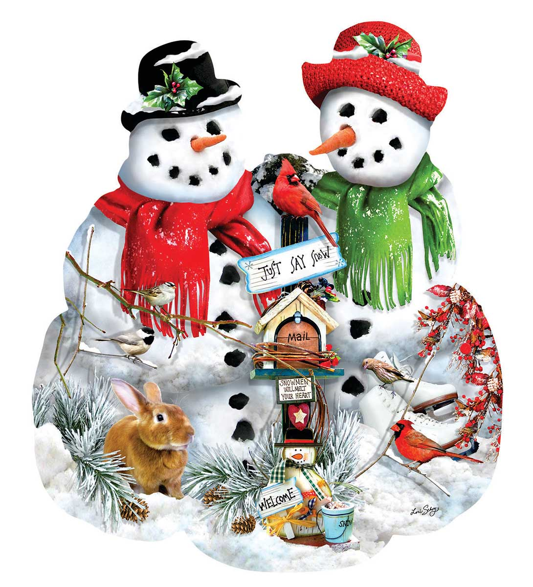 Snow Family Snowman Shaped Puzzle