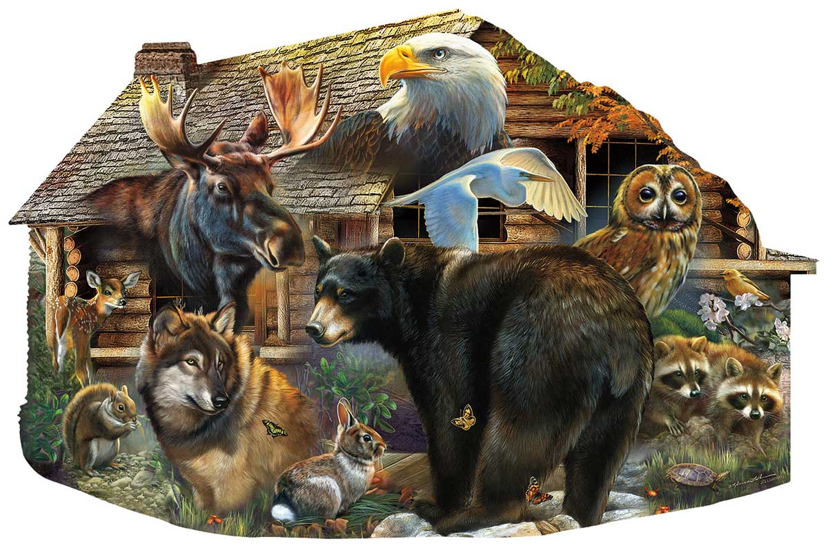 Wildlife Cabin Animals Shaped Puzzle