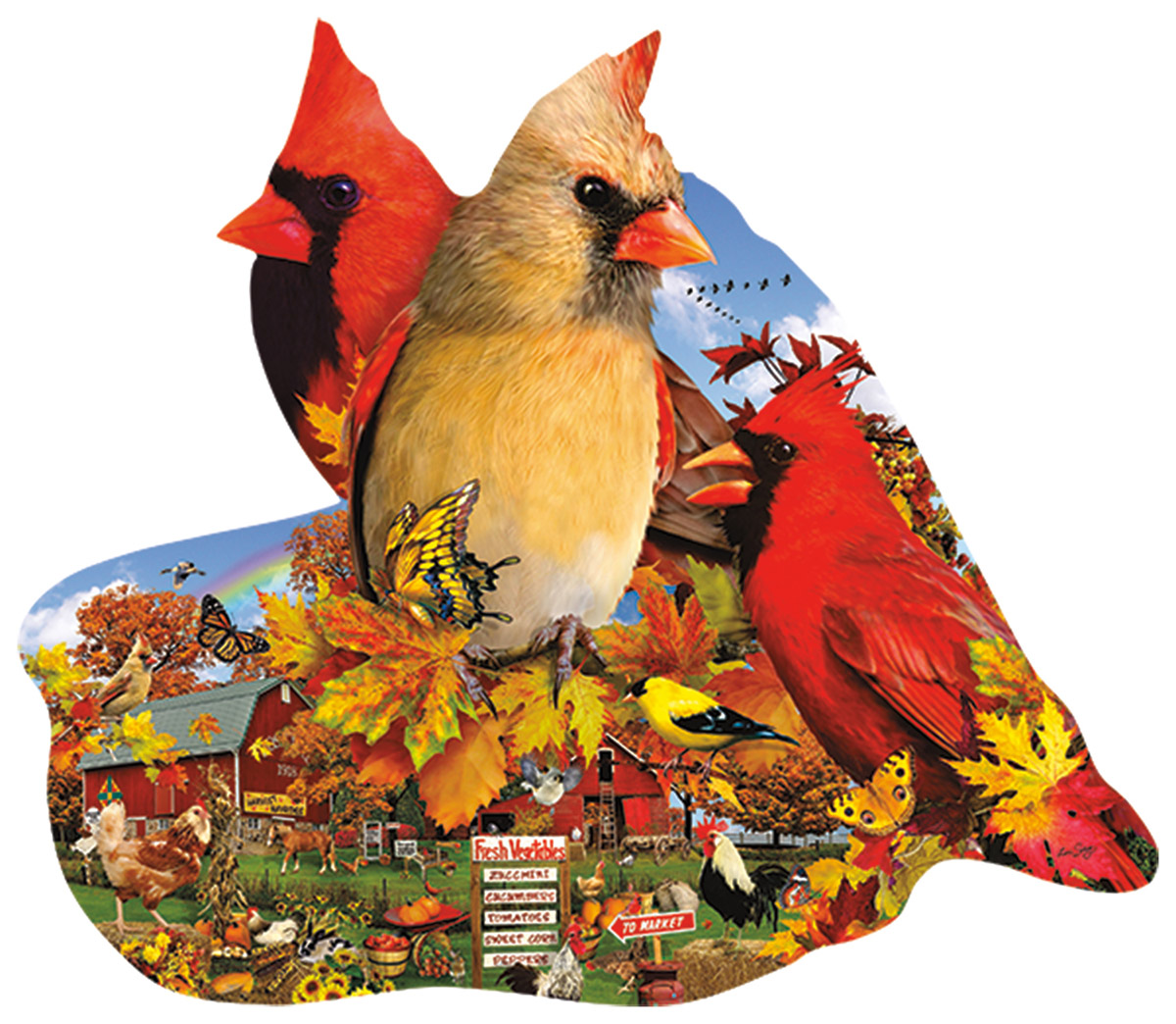 Fall Cardinals Birds Shaped Puzzle