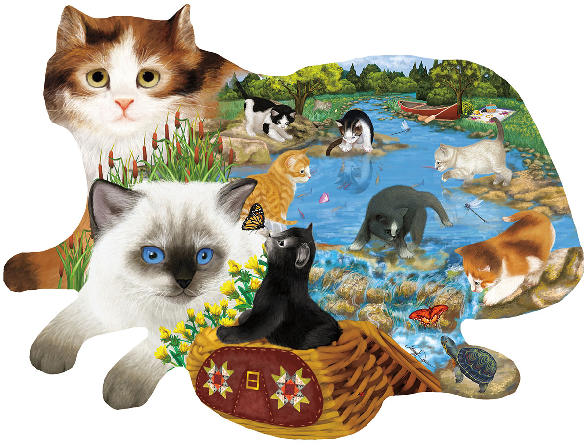 Fishing Kittens - Scratch and Dent Cats Shaped Puzzle