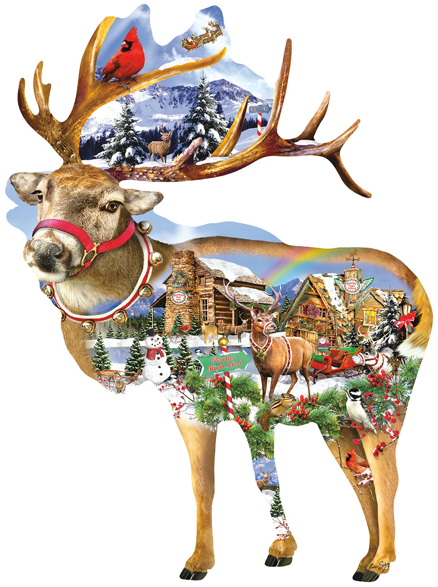 Reindeer Training Christmas Shaped Puzzle