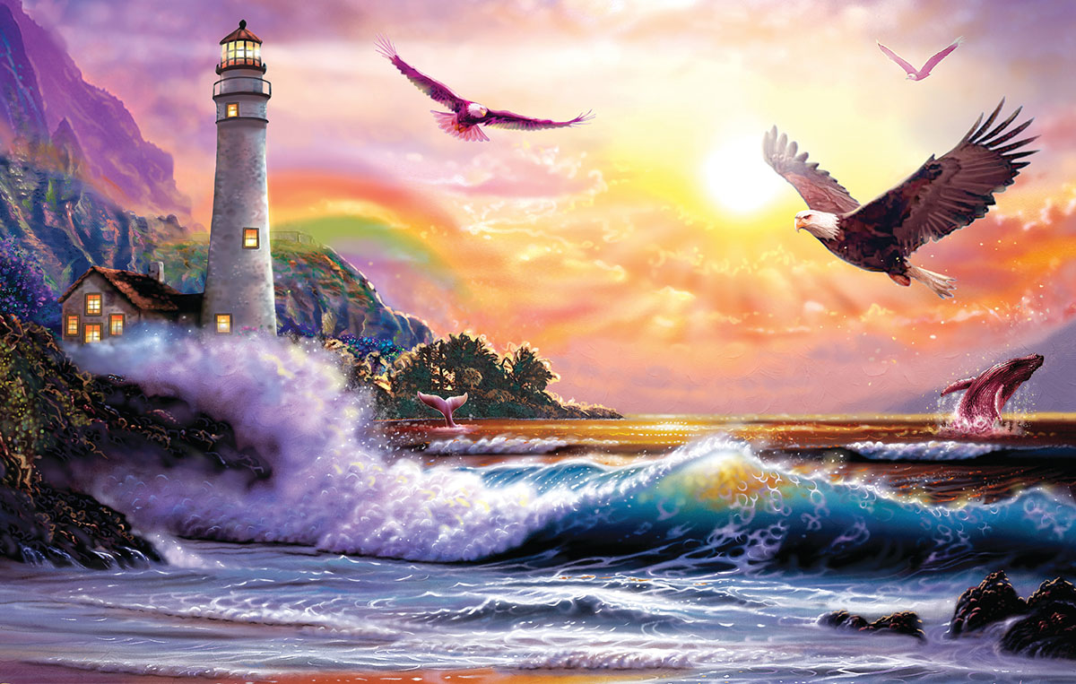 Peaceful Seascape - Scratch and Dent Lighthouses Jigsaw Puzzle