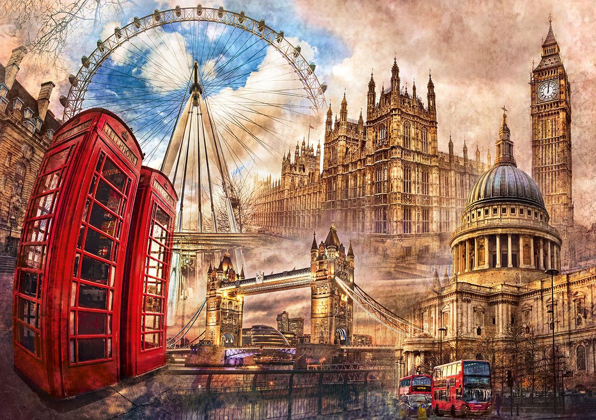 Vintage London Landmarks / Monuments Jigsaw Puzzle