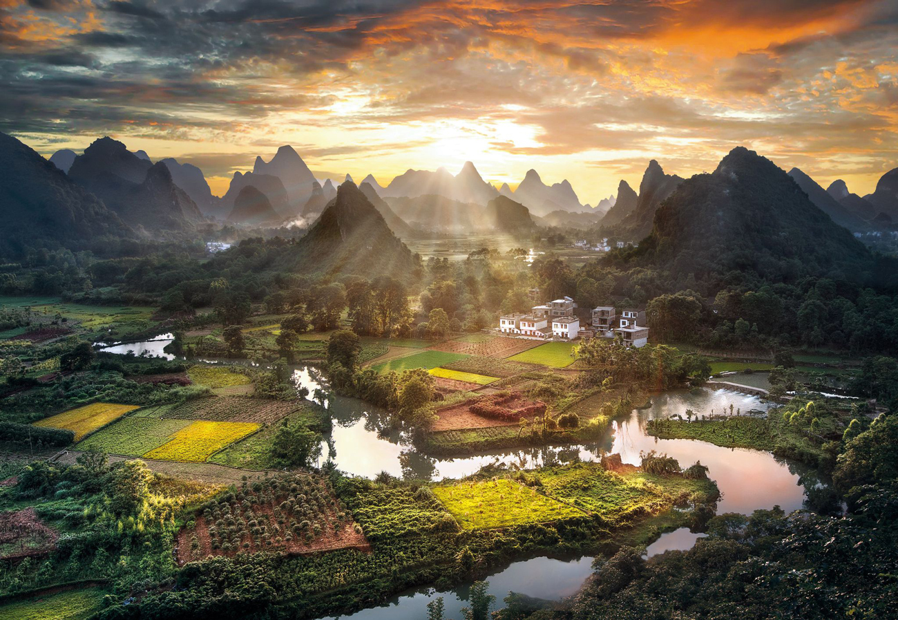 View of China Mountains Jigsaw Puzzle