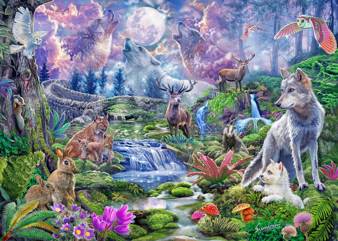 Moonlit Wild Animals Jigsaw Puzzle