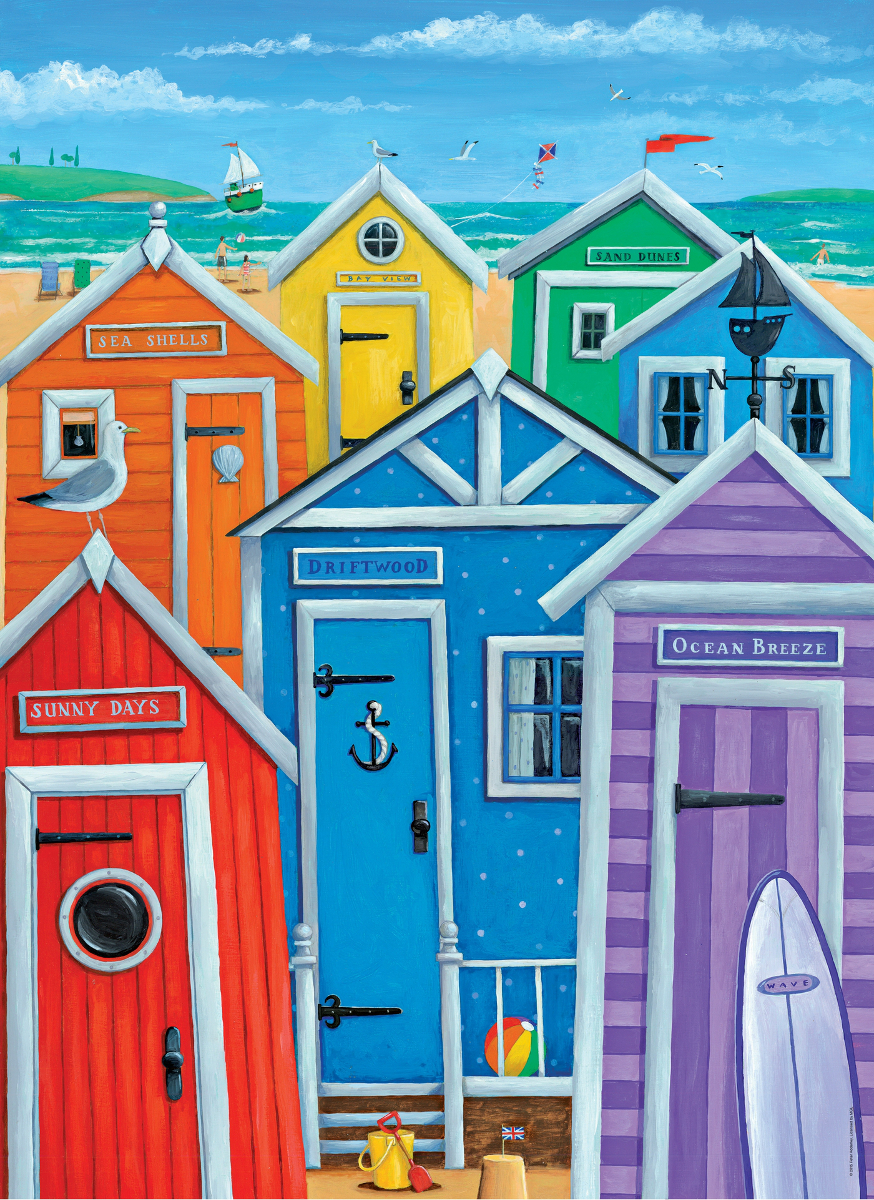 Rainbow Beach Huts - Scratch and Dent Collage Jigsaw Puzzle