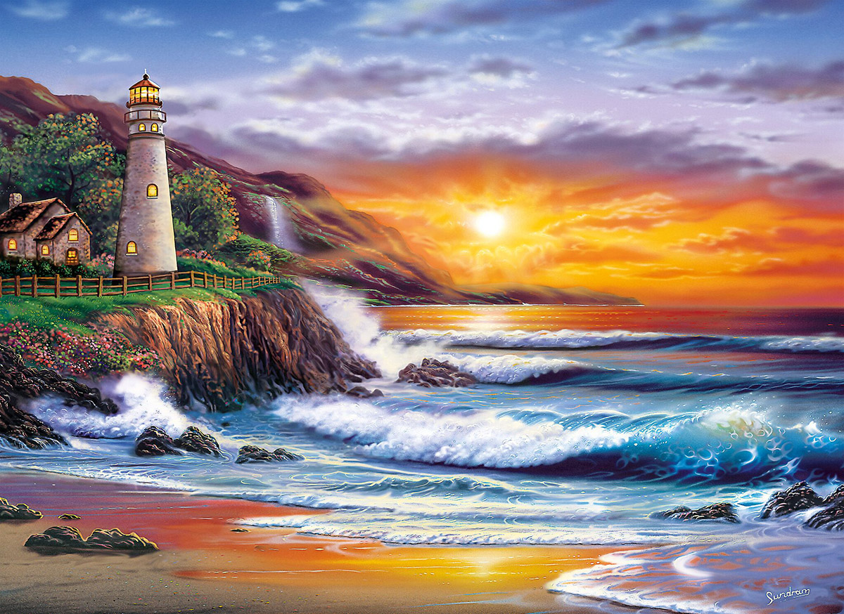 Lighthouse at Sunset Lighthouses Jigsaw Puzzle