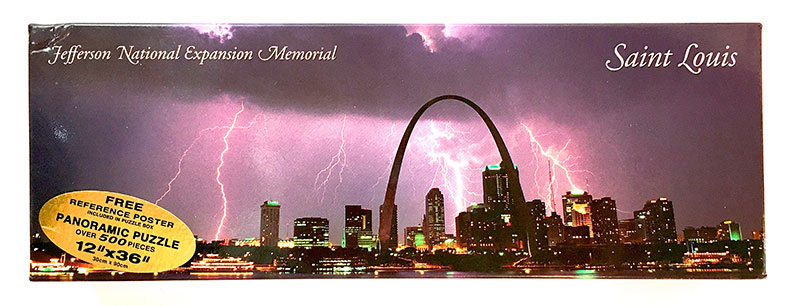 Saint Louis Arch Lightning Panoramic Landmarks Jigsaw Puzzle