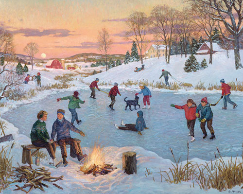 The Old Skating Pond Christmas Jigsaw Puzzle