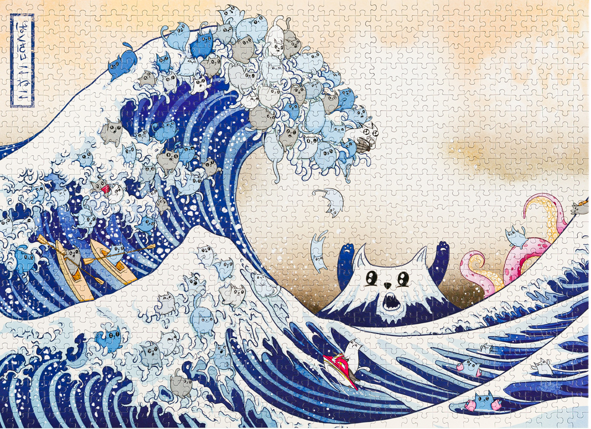 Great Wave Of Catagawa Cats Jigsaw Puzzle