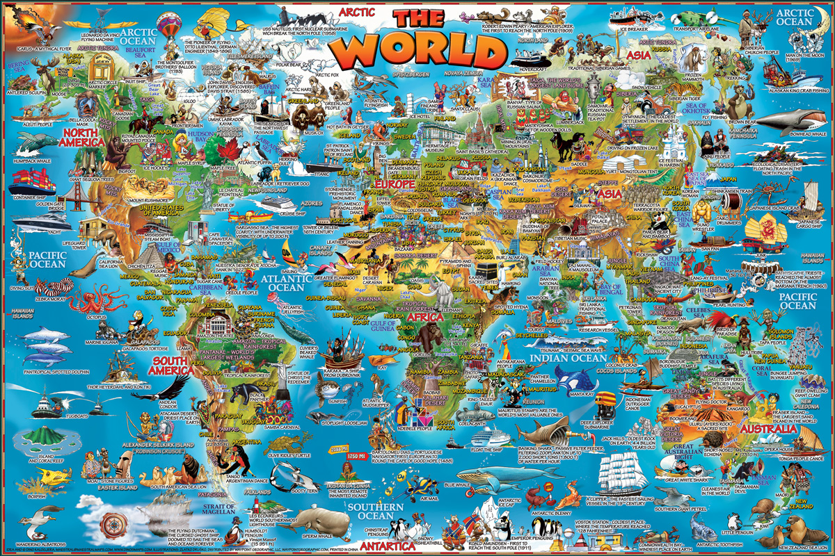 World Illustrated Educational Jigsaw Puzzle