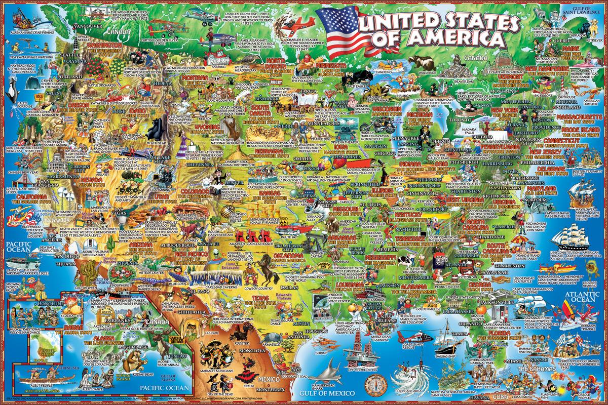 United States Illustrated Educational Jigsaw Puzzle